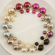 7 pairs/lot Mix Colors Cheap Double Pearl Earrings for Women Fashion Jewelry X Brand(China (Mainland))