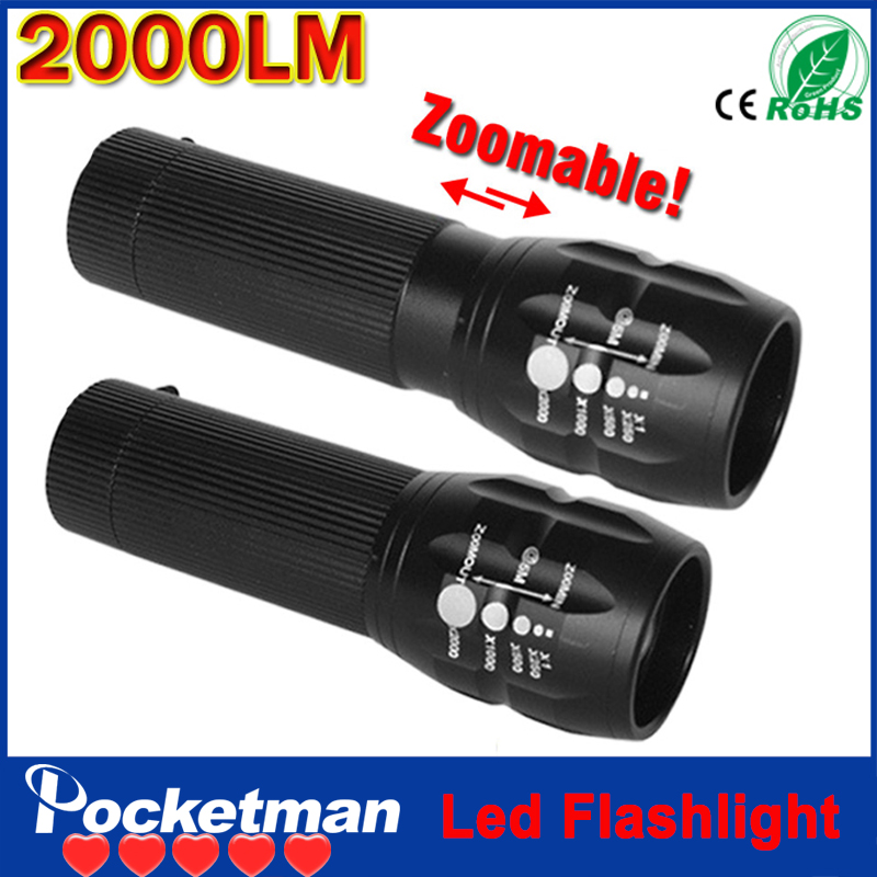 zk92 Cree Q5 Flashlight Lanterna led Torch 2000 lumen Zoomable Mini LED Flashlight Lantern Bike Light Black(China (Mainland))