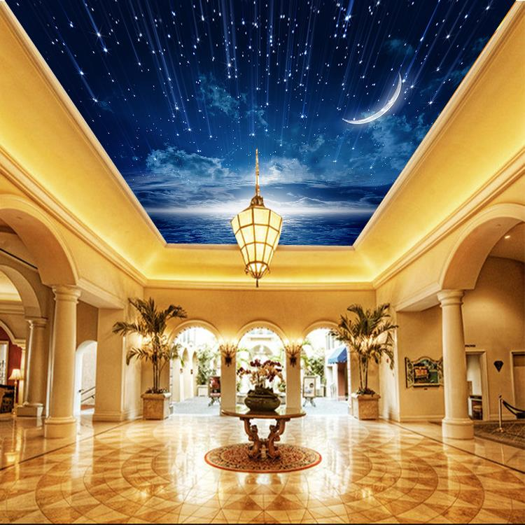 3d view photo wallpaper bedroom ceiling room decor starry night