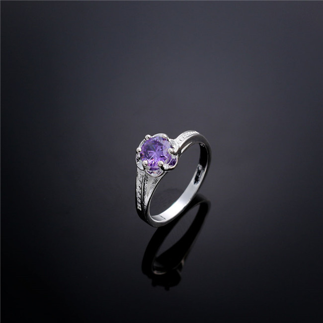 Classic R016 925 sterling silver rings with amethyst Austria Shiny party jewelry top quality romantic Valentine's Day gift(China (Mainland))