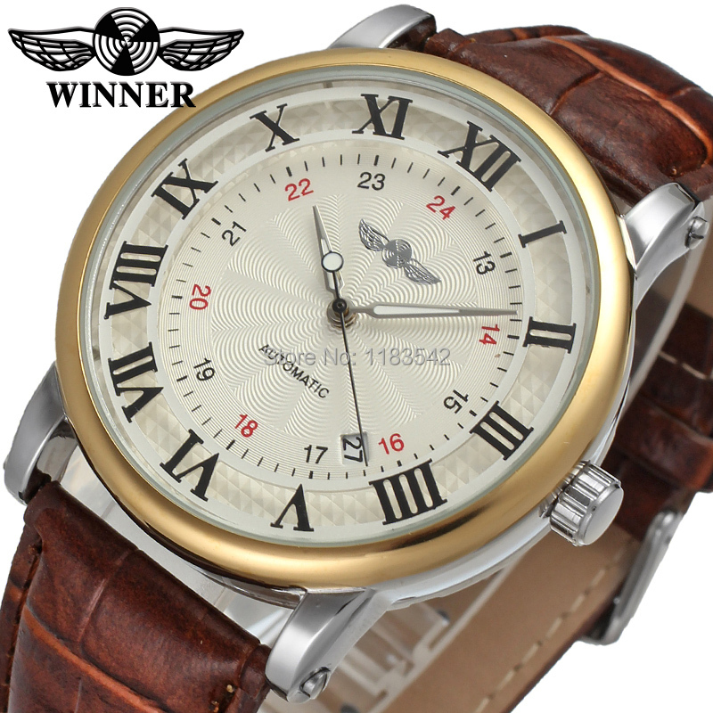 Winner Men s Watch Luxury Brand Automatic Business Style Leather Strap Analog Dress Fashion On SaleWristwatch