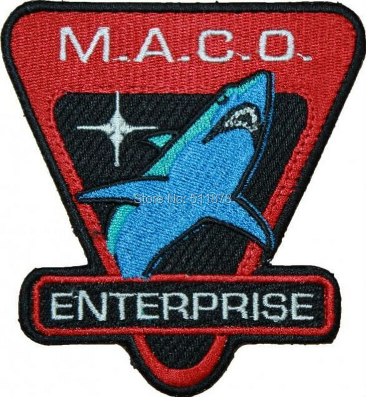 "4"" Star Trek Enterprise MACO Shark Movie TV Series Costume Embroidered Emblem sew on iron on patch Baseball Cap Badge(China (Mainland))"
