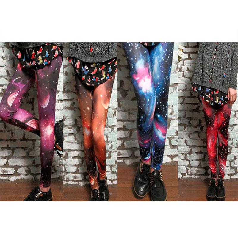 2015 New Women Sexy Universe Galaxy Blue Printed Leggings Pants Elasticity Fashion Space Tie Dye Milk Silk(China (Mainland))