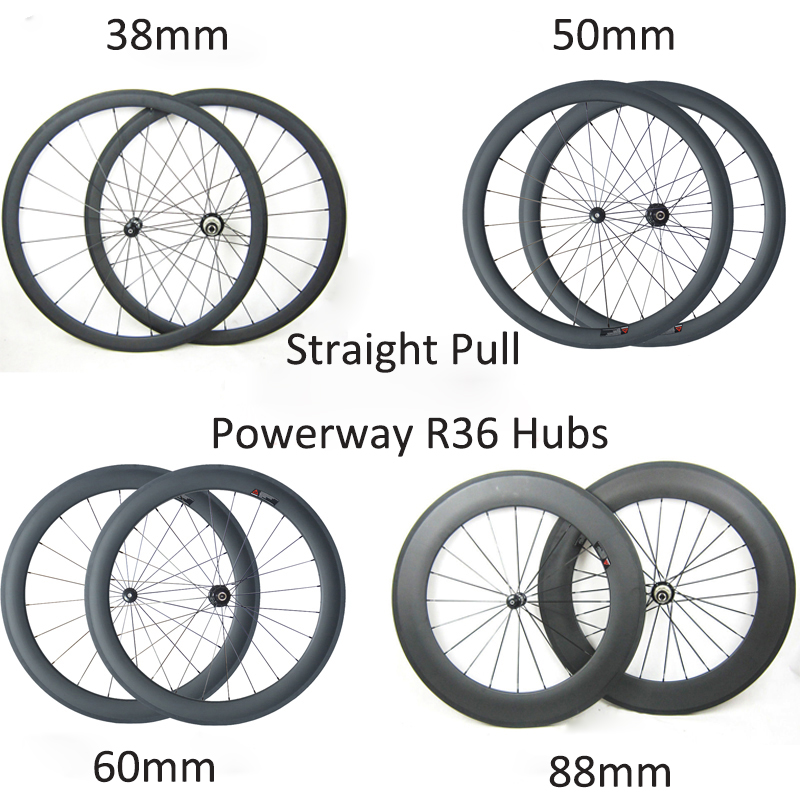 Straight Pull R36 Hubs 700C 24mm 38mm 50mm 60mm 88mm depth 23mm Clincher Tubular Road Bike Carbon Wheels Carbon Bicycle Wheelset(China (Mainland))