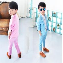 Boys Prom Suits Blazers jacket for Children Costume Garcon Mariage Blue Suits For Kids Wedding England Style Baby Clothing 2016