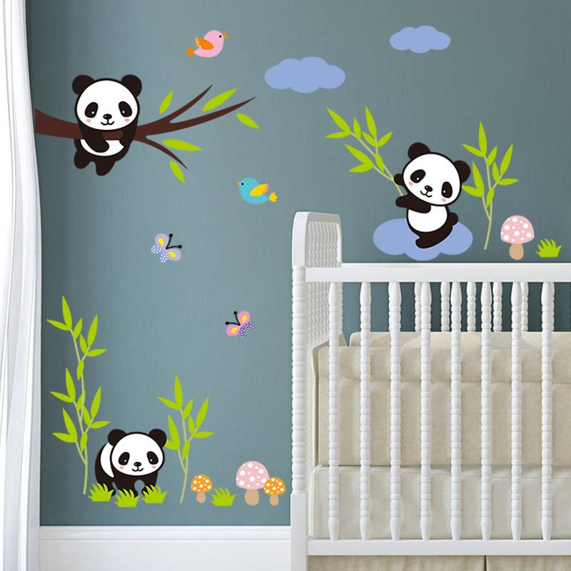 3D cartoon panda bamboo tree Birds White Cloud vinyl wall stickers for kids room bedroom nursery living room home decor PVC &(China (Mainland))