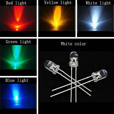 20pcs X 5 color = 100pcs 3mm white red yellow blue green Light-emitting diode Super Bright Light Bulb Led Lamp New Round(China (Mainland))