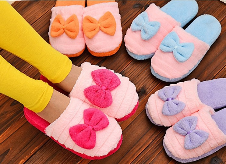 Factory Direct Pantufas Large Bow Love Slippers Women Winter Warm Cotton Fabric Slippers Indoor Home Floor Slippers Candy Color(China (Mainland))