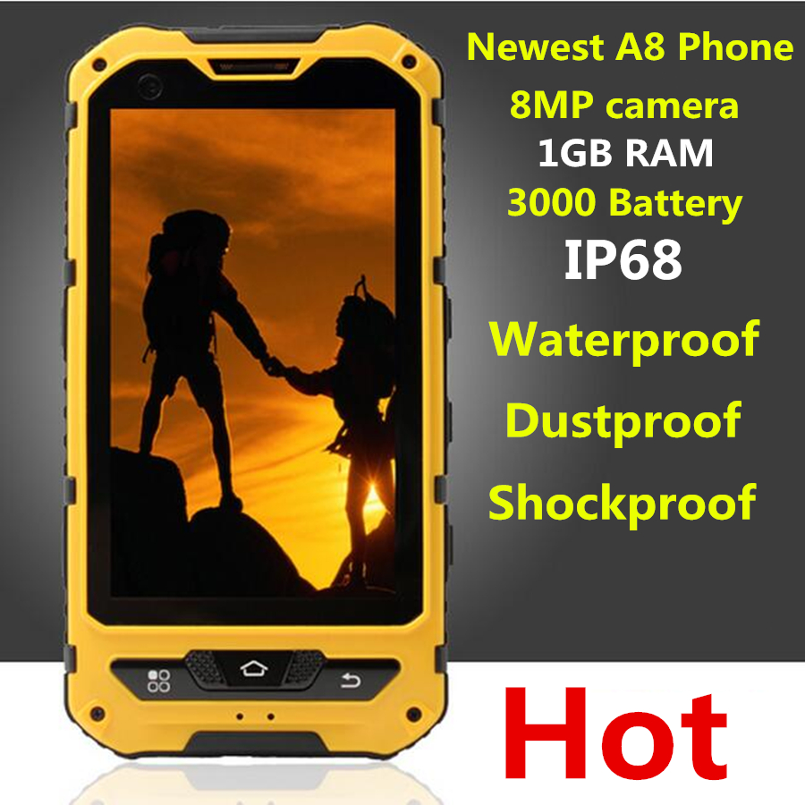 Original A8 IP68 A9 V9 Waterproof Shockproof Rugged Phone MTK6582 Quad Core Android 4.4 1GB RAM 8GB 3G GPS 5.0MP Mobile Phone(China (Mainland))