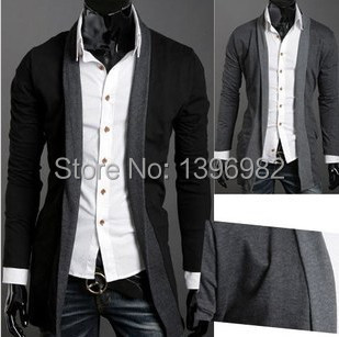 2014 New Promotional Men sweater fake Two wild The long Cardigan man sweaters hot Sale(China (Mainland))
