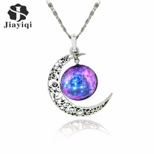 Galaxy Necklace Lovely Moon Galaxy Nebula Space Antique Silver Alloy Pendant Platinum Plated Chain Necklace Couple Gift 2014 HOT