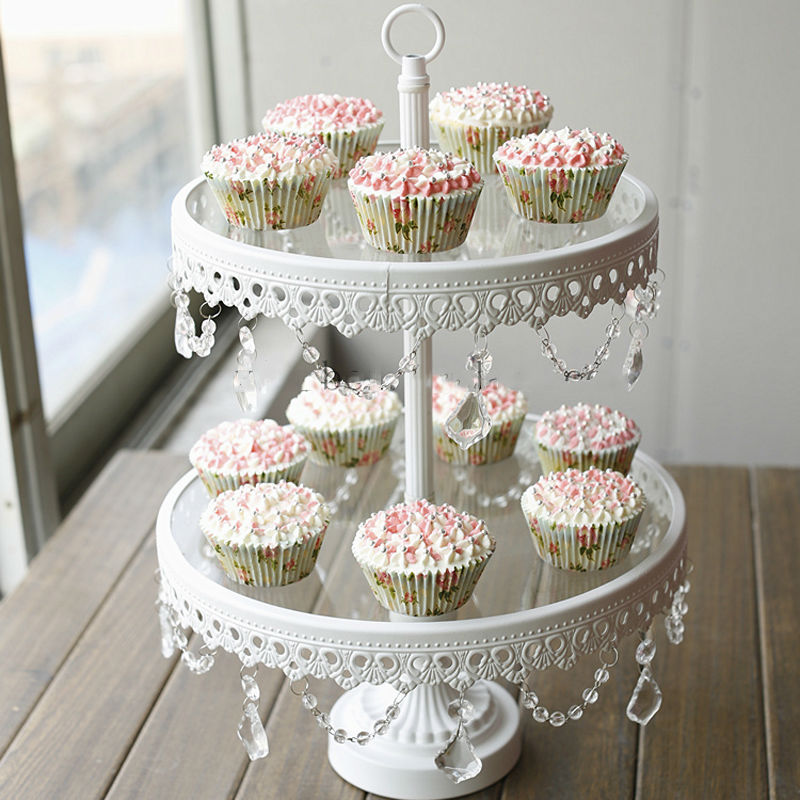 glass cake stand 2 tier white iron cany cookie display. Black Bedroom Furniture Sets. Home Design Ideas