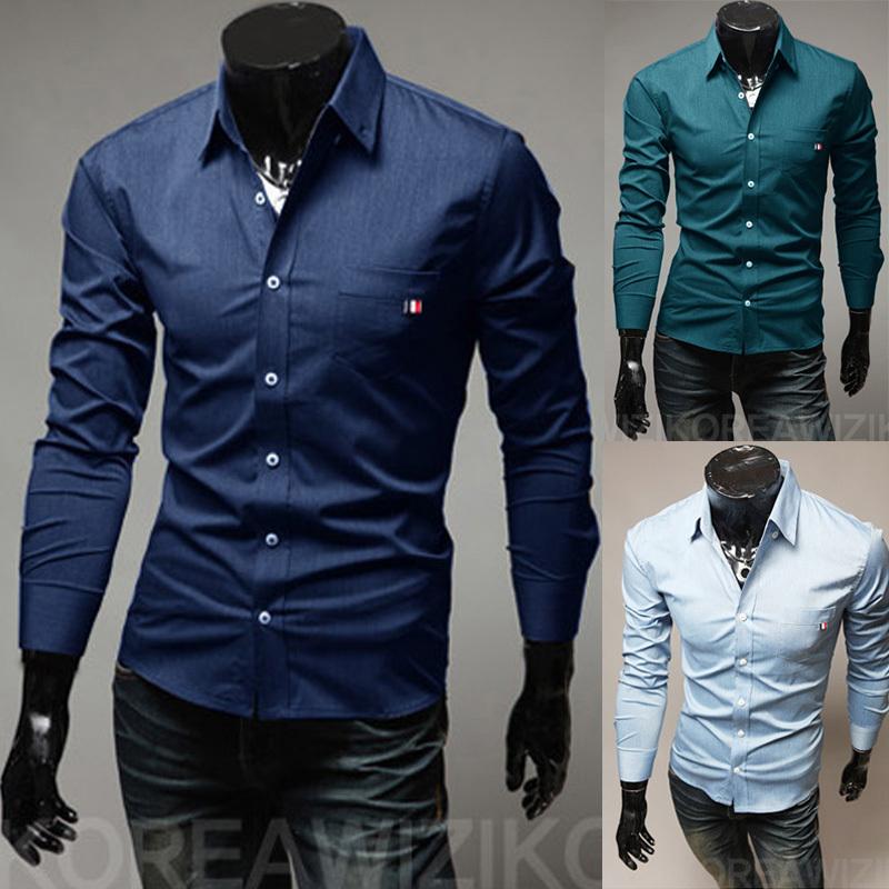 2015 cheaper fashion long sleeve mens dress shirt casual slim fitness hombre blusas social plain roupas camisas masculina  -  DT boutique store