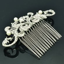New 2015 Wedding Flower Hair Comb Hairpins Tiara with Imitated Pearl Rhinestone Crystal Bridal Hair Accessories