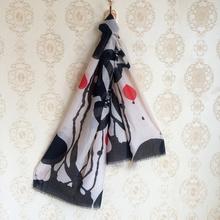 Lotus Design Scarf Women Hand Dyeing Shawl Blanket Beach Pareo Soft Voile Black Beige Foulard Brand New 2016(China (Mainland))