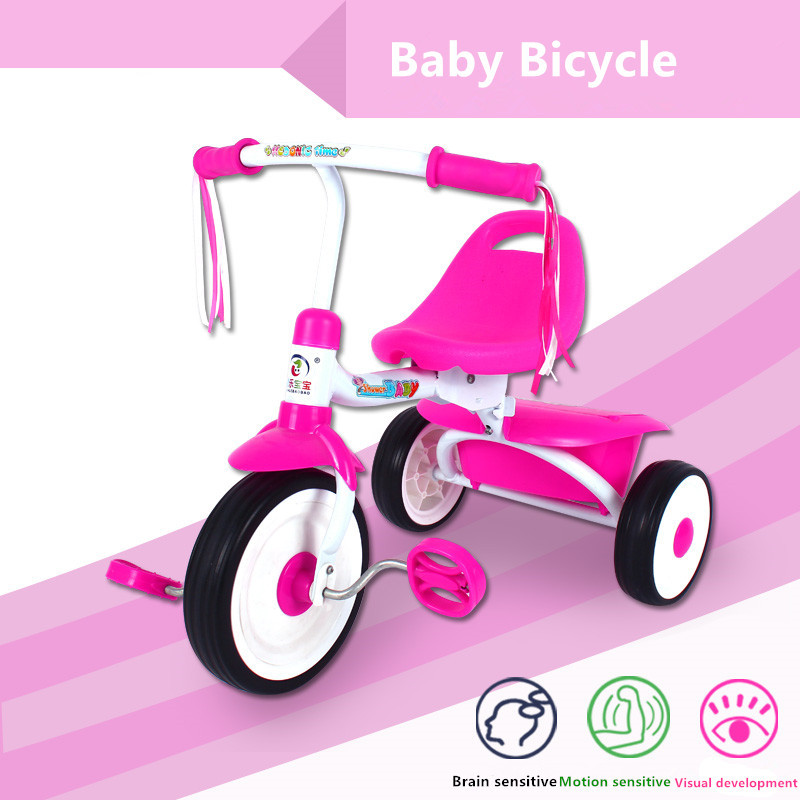 baby bicycle children trike safety walker toy stroller three wheel triciclo kids tricycle back with storage case red green color(China (Mainland))