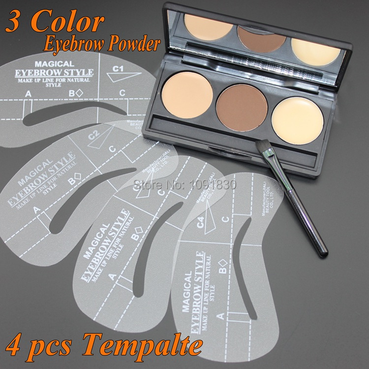 2015 NEW 3 Color Eyebrow Shaping Powder + Eyebrow Wax Palette + 4 Stencils Makeup Kit Cosmetics Free Shipping(China (Mainland))