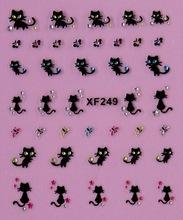 Cute beauty women  black cat  3D nail stickers Water Transfer nail art  low price  XF249