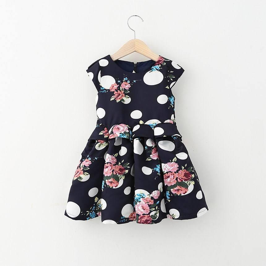 2015 New Children Clothes Girl Dress Polka Dot Floral Princess Dress Girl Fashion Sundress 2-8Y 507536(China (Mainland))