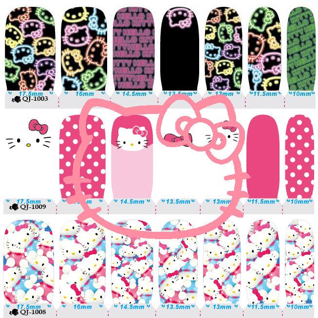 Lovely Hello Kitty Nail Arts Sticker 14 Finger/pcs Waterproof Nail Decals Art Stickers Gel Polish Manicure Foils Beauty Makeup(China (Mainland))