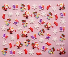 1 Sheet XF Christmas nail stickers nail stickers nail stickers 3D nail stickers French one from the grant XF377-XF6059
