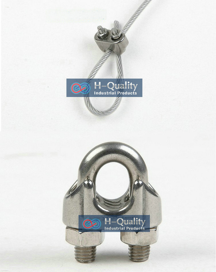 Free Shipping Wholesale Rigging Hardware High Strength And Antirust 316 Grade Stainless Steel DIN741 M4 Wire Rope Clips(China (Mainland))