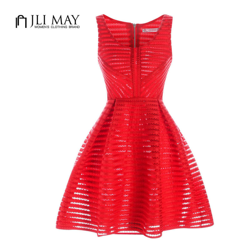 JLI MAY Textured Fit Flare Summer women Dress hollow O-Neck Solid mini clothing Sleeveless Black red white elegant casual XL