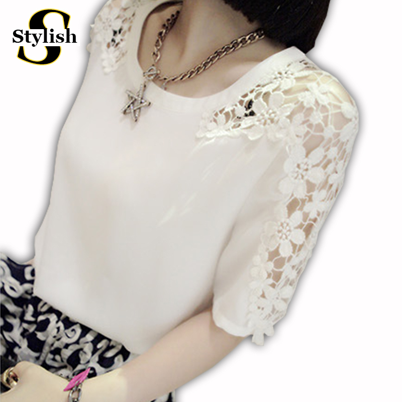 Summer Style Short Sleeve Chiffon Blouse Lace White Black Women Blouses Tops Fashion 2015 Loose Casual XXXXL Shirt Woman Clothes(China (Mainland))