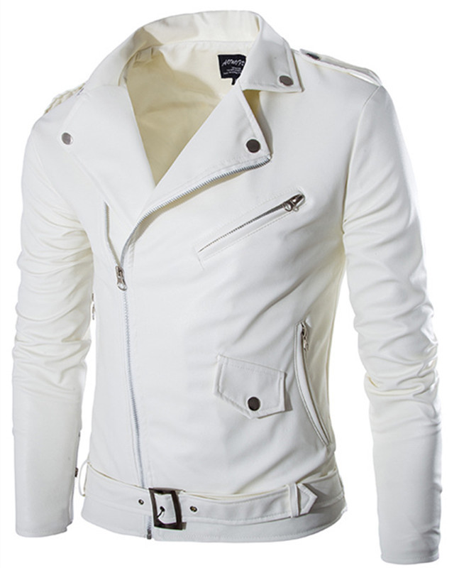 2015 fashion stand collar motorcycle leather clothing men's leather jacket male outerwear White Leather & Suede M-XXL(China (Mainland))