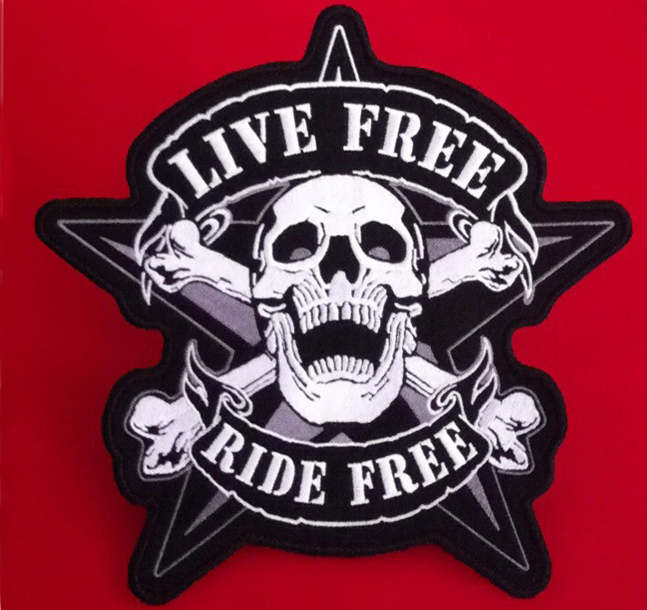 "12"" Motorcycle live free ride free embroiderey iron on big size biker back skull patch for Jacket, customized large punky patch(China (Mainland))"