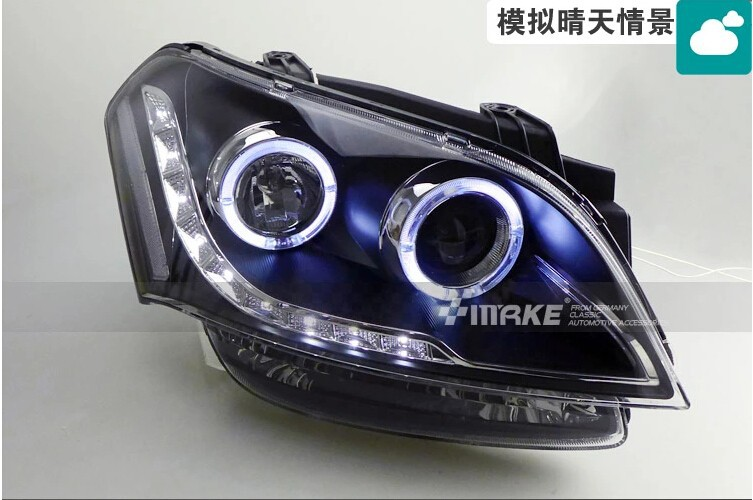 Car Styling For KIA SOUL Headlights 2009-2012 SOUL LED Headlight Automobile angel eye led drl H7 hid Bi-Xenon Lens low beam