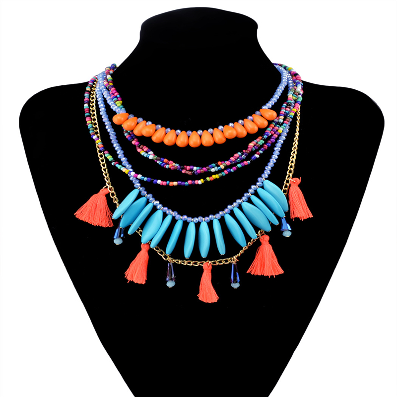 Fashion Bohemia Exotic Statement Necklaces for Women Candy Color Multilayer Tassel Turquoise Beads Chunky Choker Necklace 2016(China (Mainland))