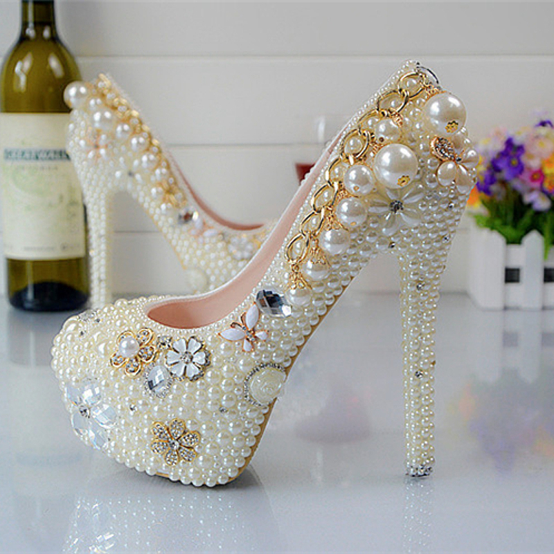 Fashion Pearl Crystal Wedding Shoes Round Toe Womens High Heels Bridal Evening Prom Party Bridesmaid Shoes<br><br>Aliexpress