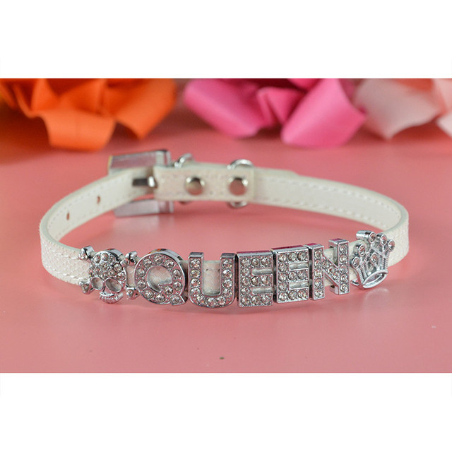 Bling Pu Leather 10MM Personalized Dog Pet Puppy Cat Collar with Free Letters Charms