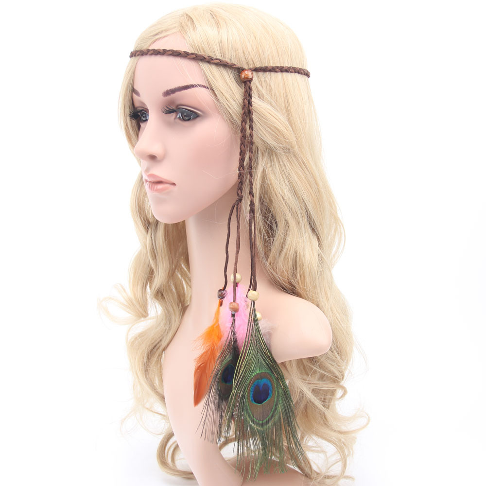 2016 new fashion accessories hair band indian peacock feather pendant headband wood beads rope knitted belt hairband HJ52(China (Mainland))