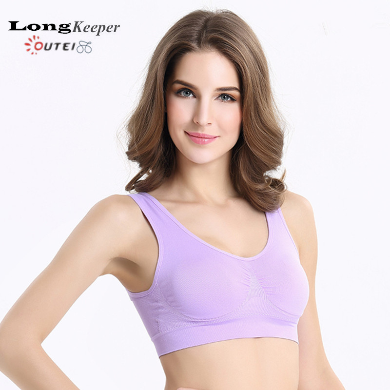 LongKeeper Women Sports Bra Tops Solid Bra for Fitness Running Gym Cross Straps Push Up Padded Stretch Bras Yoga Clothing 1099(China (Mainland))