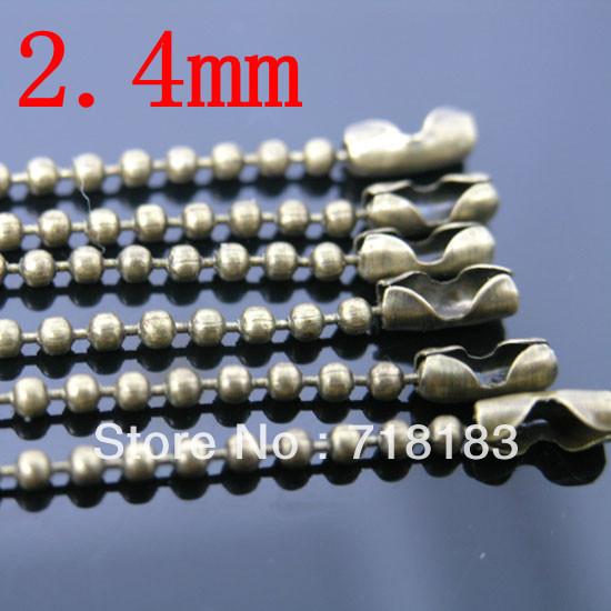 """Wholesale 10 Strand Bronze Tone Ball Beads Chain Necklace 2.4mm Bead Connector 70cm(27"""") DIY fashion(China (Mainland))"""