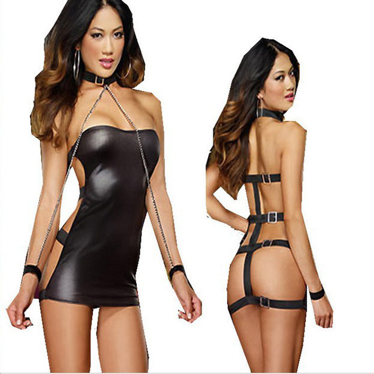 2015 New Arrival Sexy Costume Women Sexy Black Faux Leather Costume Fetish PVC Teddy Lingerie Free Shipping Wholesale Lingerie(China (Mainland))