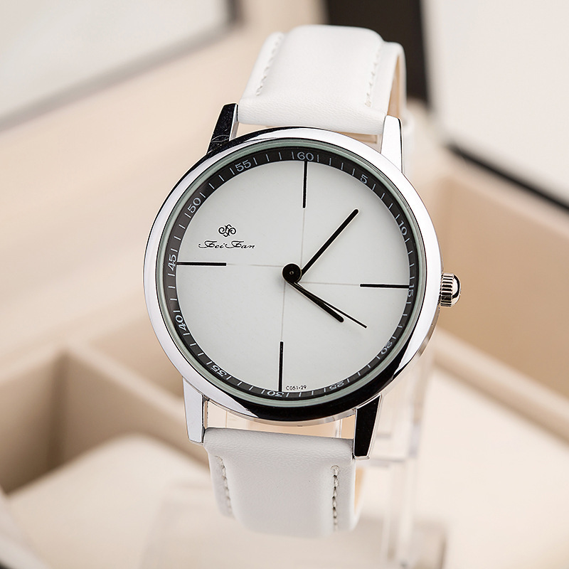 high quality brand men women black white leather waterproof quartz watch fashion casual wrist. Black Bedroom Furniture Sets. Home Design Ideas