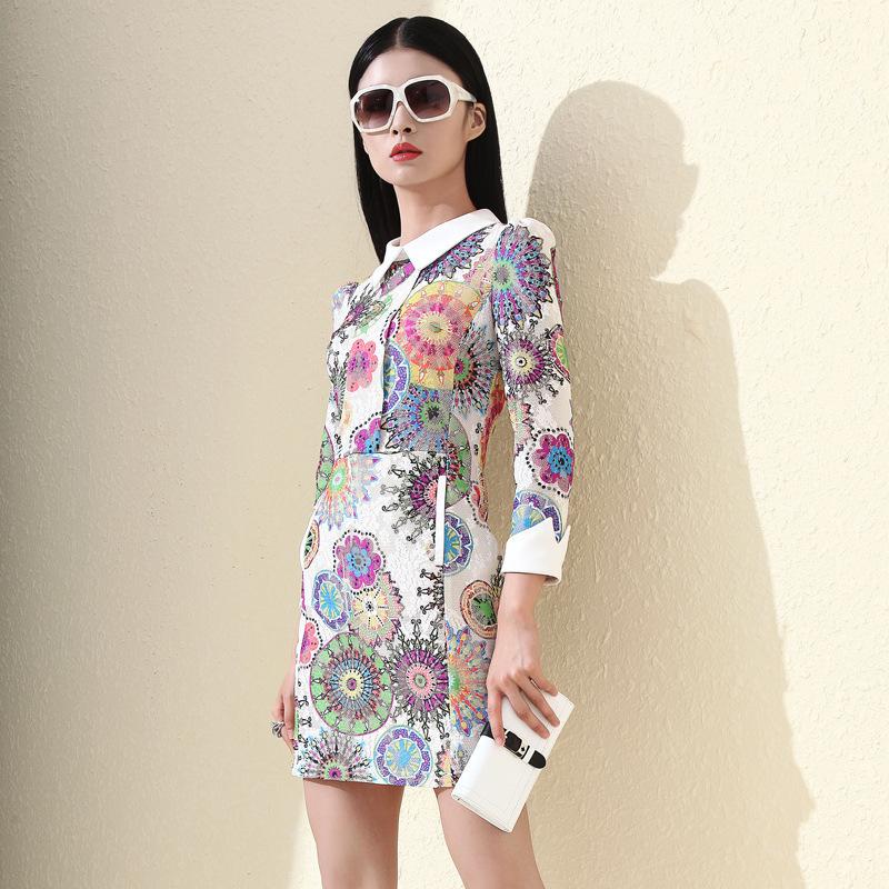 Free Shipping 2015 New Women fashion Vintage Desigual Women Slim Lace Party Dresses Turn-down Collar print lady mini dress OM009Одежда и ак�е��уары<br><br><br>Aliexpress