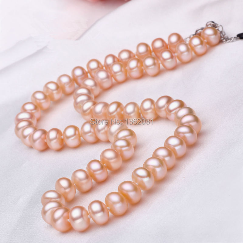 2015 Natural 100% Genuine Pearl Necklace Mother Gift Precious Round White Pink Purple Pearl Jewelry Choker Necklace(China (Mainland))