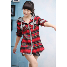 2014 New Fashion Plaid Printed Women Blouses Brand Spring Long Sleeve Hooded Blouses For Women Casual Women Clothing(China (Mainland))