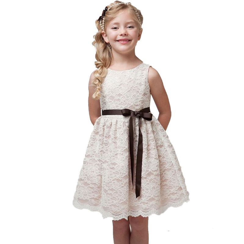 New 2016 Summer Lace Girl Dress For Wedding Birthday Party Belt Kids Dresses For Girls Toddler Baby Clothes Children Dress(China (Mainland))