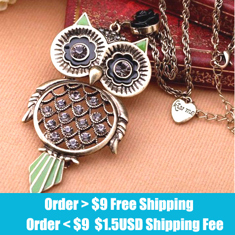 Fashion vintage owl necklace jewelry 2013 wholesale l!free shippping
