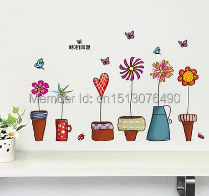 Пот завод цветок бабочка природа прекрасный окно Handdrawing наклейка виниловые наклейки пвх декора DIY главная гостиная