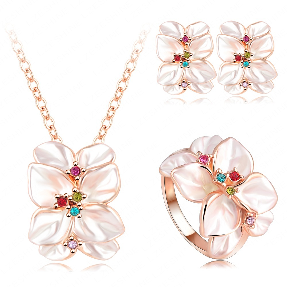 Hot Sale Jewelry Set Rose Gold Plated Austrian Crystal Enamel Earring/Necklace/Ring Flower Set Choose Size of Ring ST0002(China (Mainland))