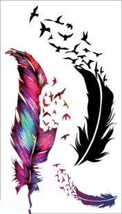 Water Transfer Flash Fake Tattoo Sticker Sex Products Waterproof Temporary Tattoo Sticker The Wind Blown Feathers(China (Mainland))