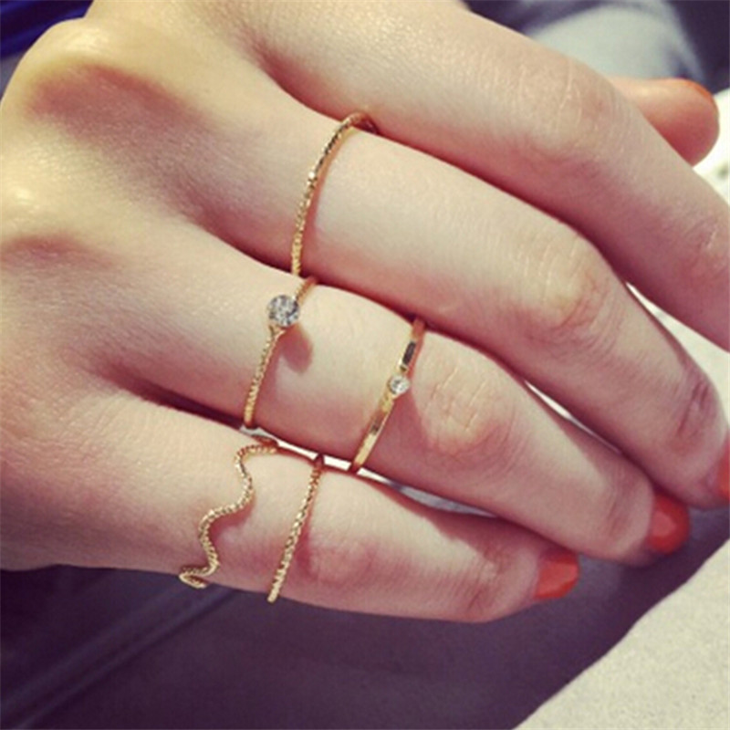 Simple Gold Crystal Knuckle Finger Midi Ring Wave Rings Set Bague For Women mulheres anel anillos(China (Mainland))