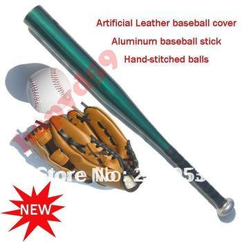 1 set free ship children gloves + baseball + Aluminum alloy baseball stick