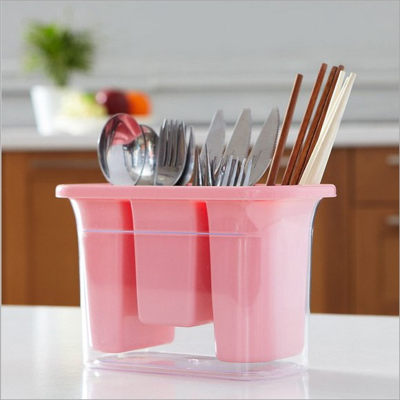 2015 new Drop tableware receive double plastic candy color dustproof chopsticks box spoon aircraft storage in the kitchen 091709(China (Mainland))